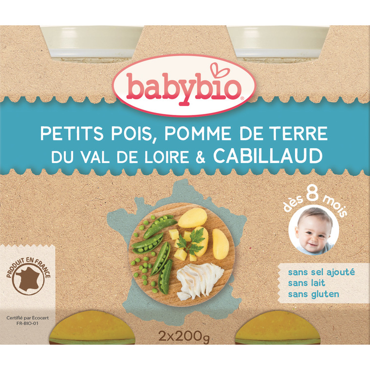 Menu du jour légumes bios et cabillaud sauvage Babybio 2 x 200 g 248228