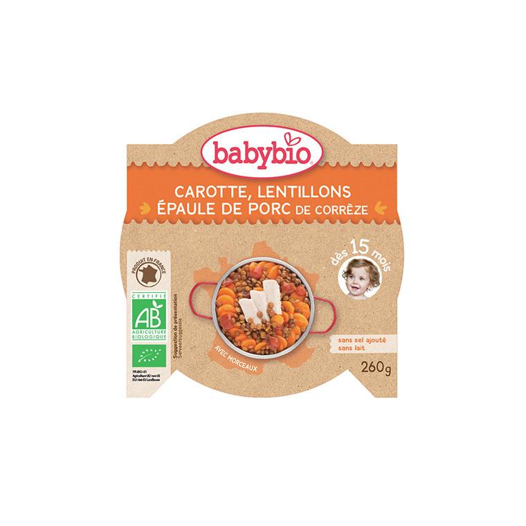 Assiette carotte lentillons et porc Babybio 260 g 248256