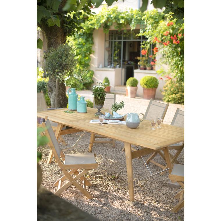 Table en teck rectangulaire à rallonges COSTA 180/240 x 110 x 74 cm 259668