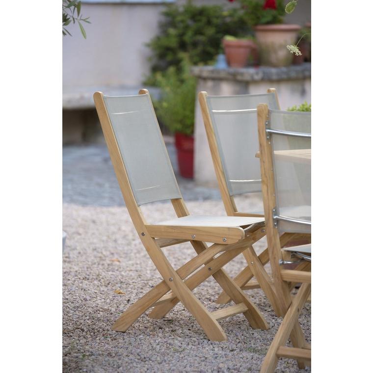 Chaise pliante Costa en teck et en textilène 259669