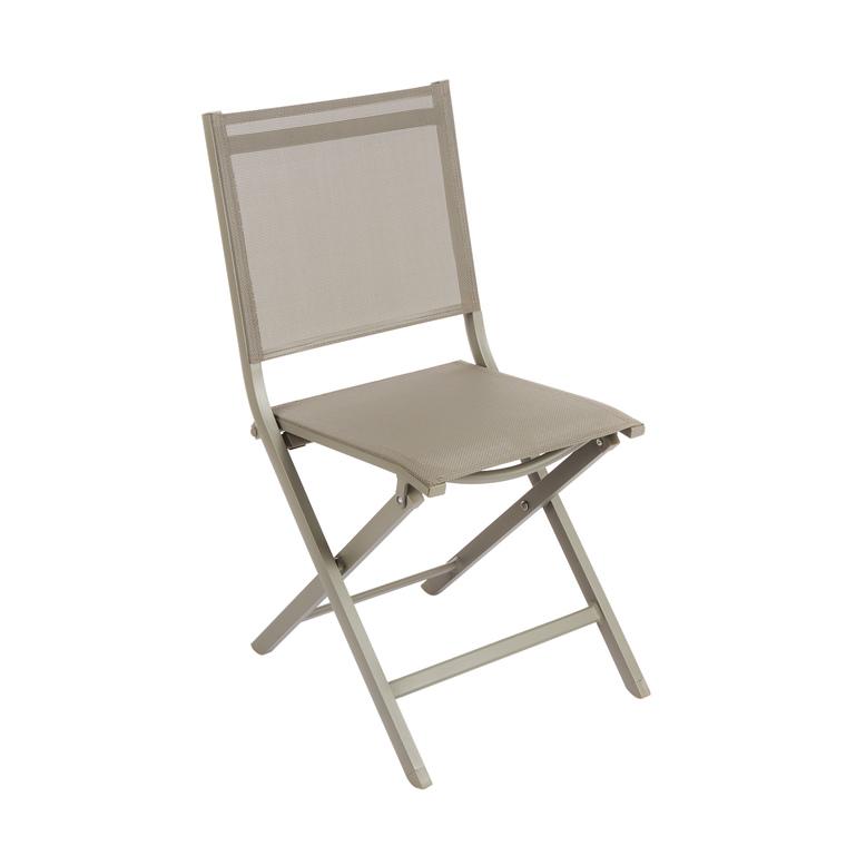 Chaise pliante Max en aluminium taupe 90 x 45 x 52 cm 259809