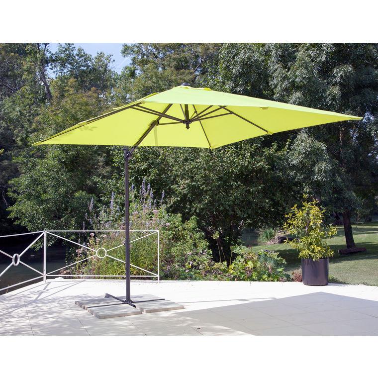 Parasol déporté à manivelle carré 2,5 m anis 262504