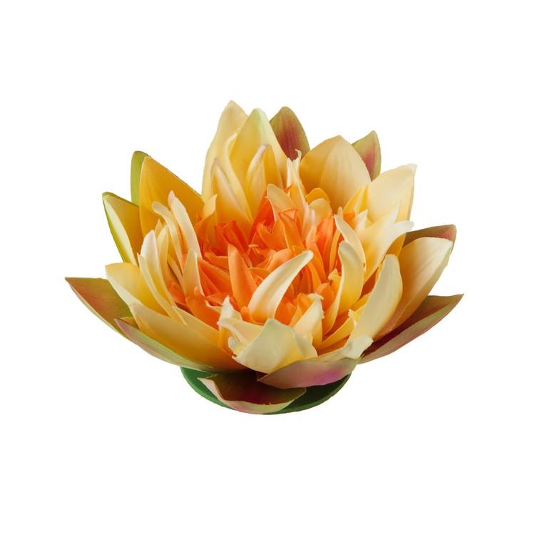 Fleur de lotus jaune artificielle flottante – 17 cm 276485