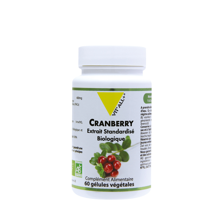 Extrait de cranberry standardisé bio vit'all + en format de 60 gélules 279684