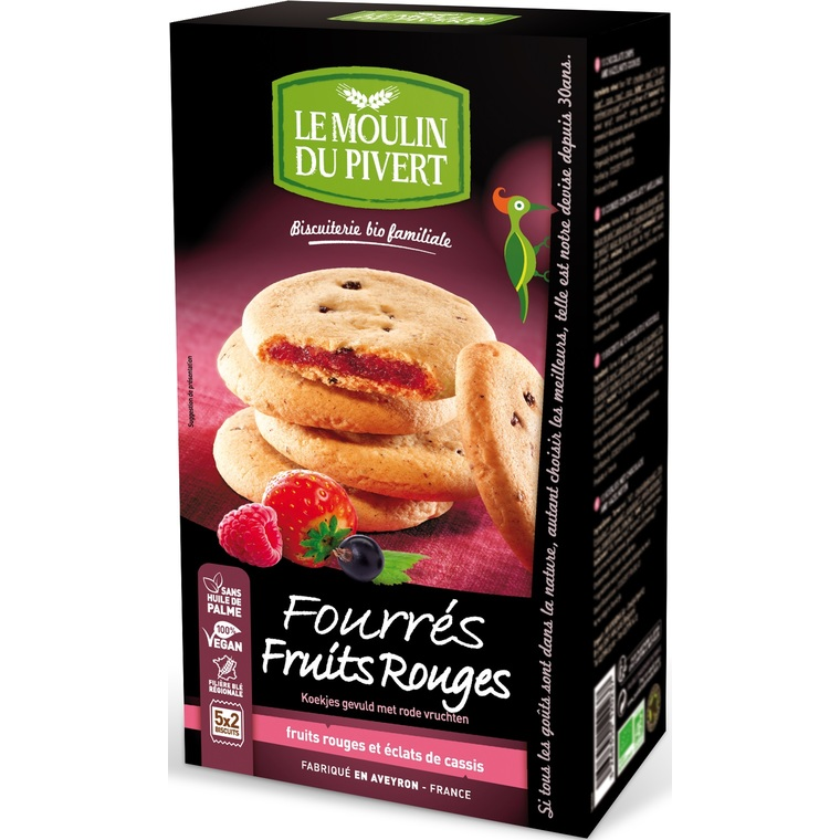 Cookies fourrés aux fruits rouges bio - 175 gr 284462