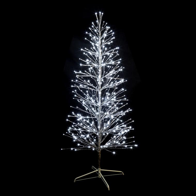 Sapin lumineux branches métal argent H180cm 490 LED blanc pétillant 286949