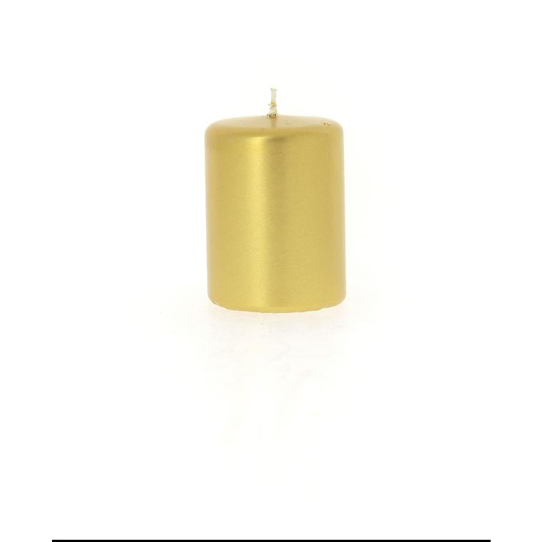 Bougie cylindrique métal or 6x8 cm 287584