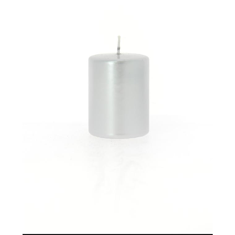 Bougie cylindrique métal argent 6x8 cm 287585