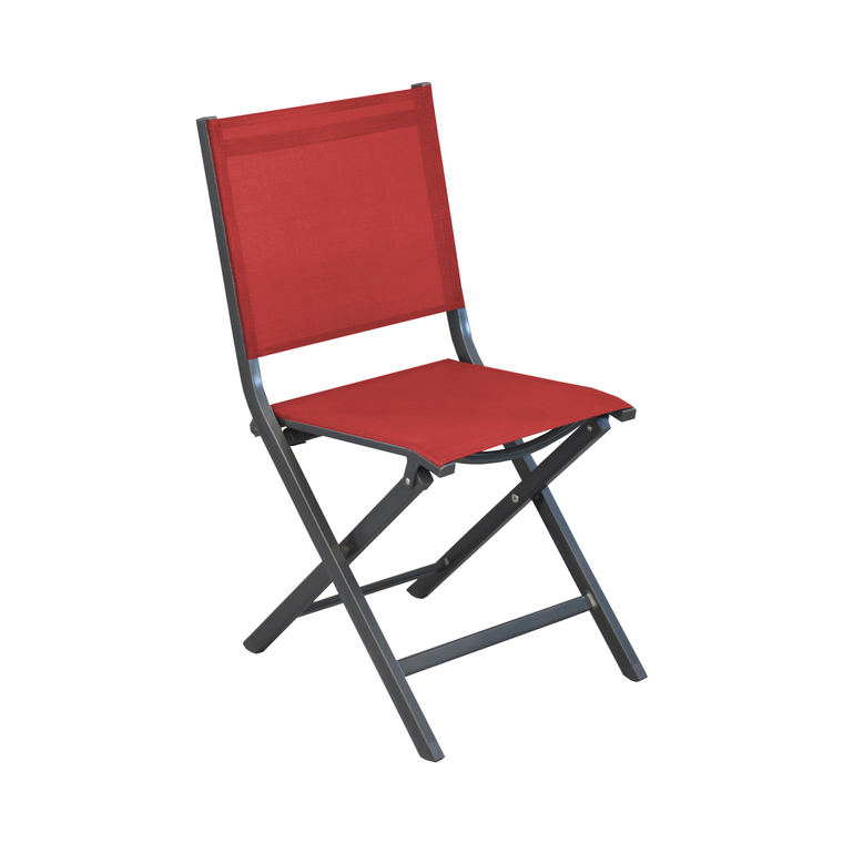 Chaise pliante Max en aluminium rouge 90 x 45 x 52 cm