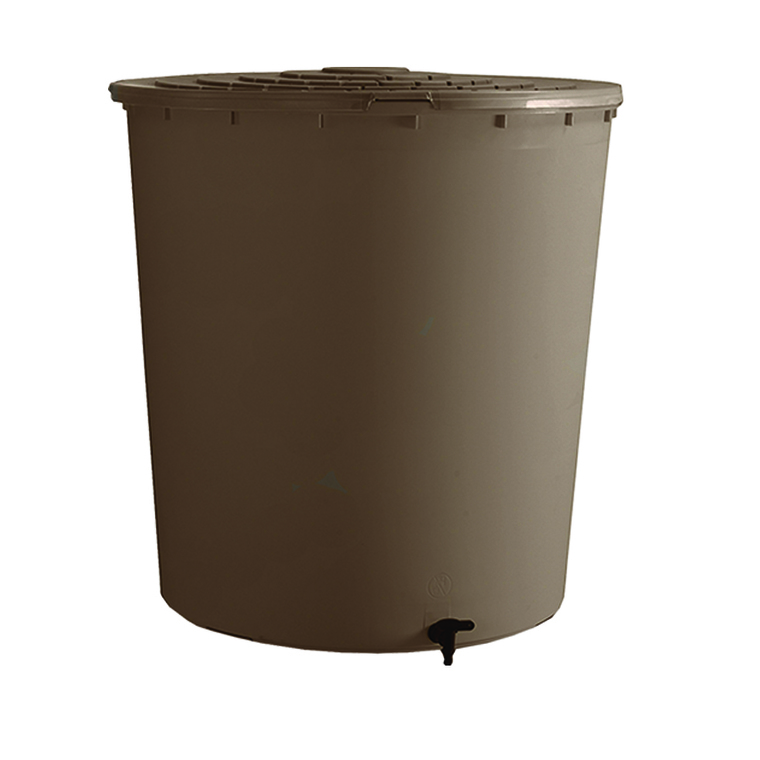 Récupérateur à eau rond couleur taupe - 200 L