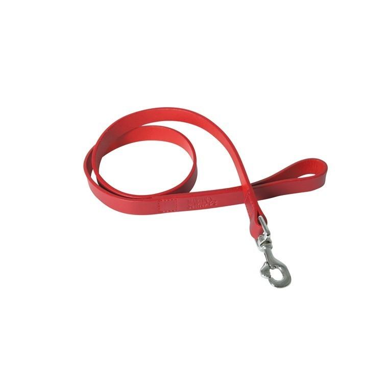Laisse chien bords ronds 20 mm / 100 cm rouge