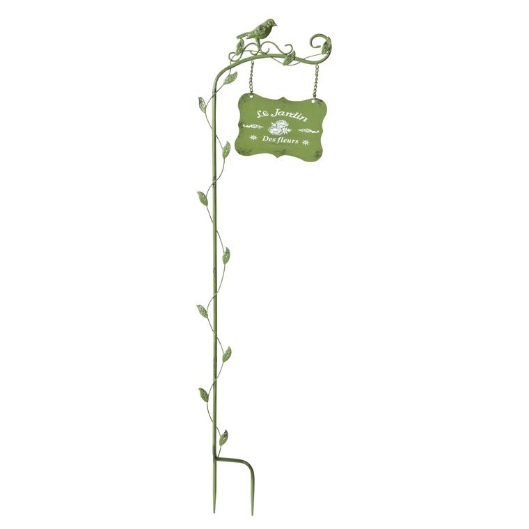 Pancarte décorative montée sur tuteur Welcome, en métal coloré, H 85 cm