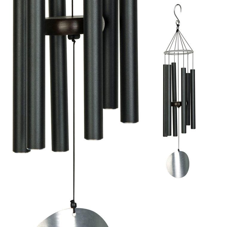 Carillon Aureole, coloris noir avec tubes en acier, H 106 cm