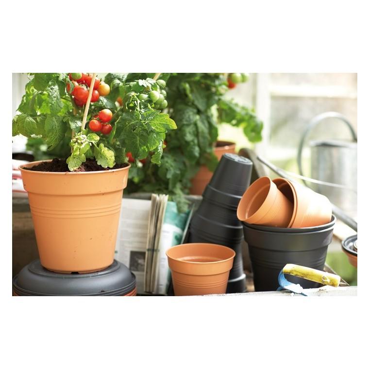 Pot 27cm green basics elho noir les soldes et promos for Plantes soldes