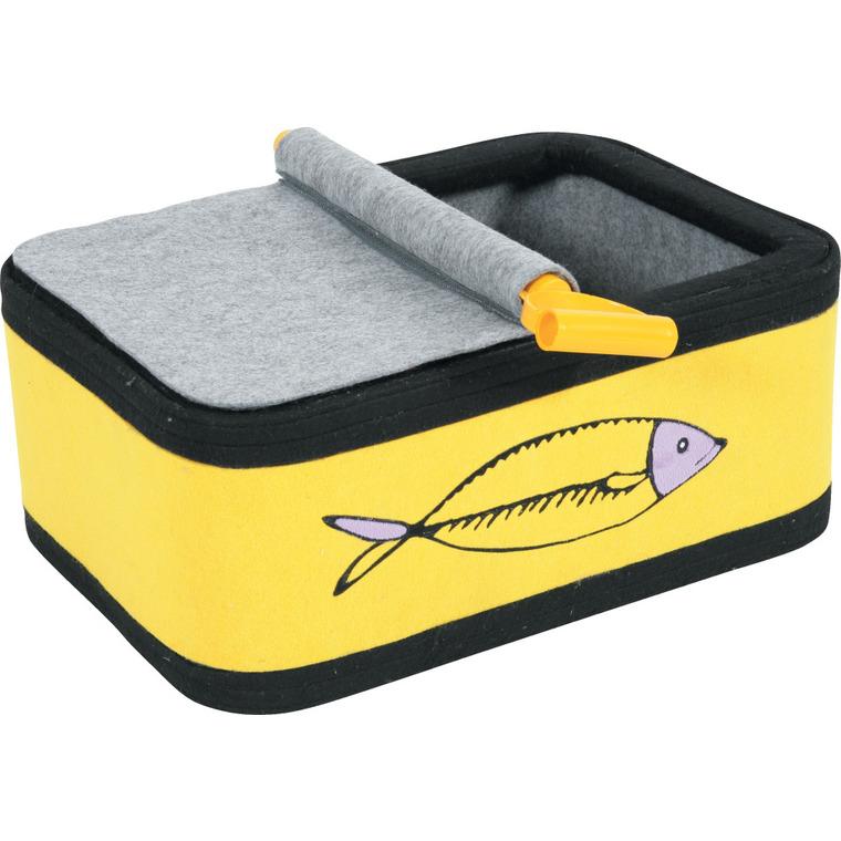 Boîte à chat sardine jaune L. 50 x l. 44 x H. 25 cm