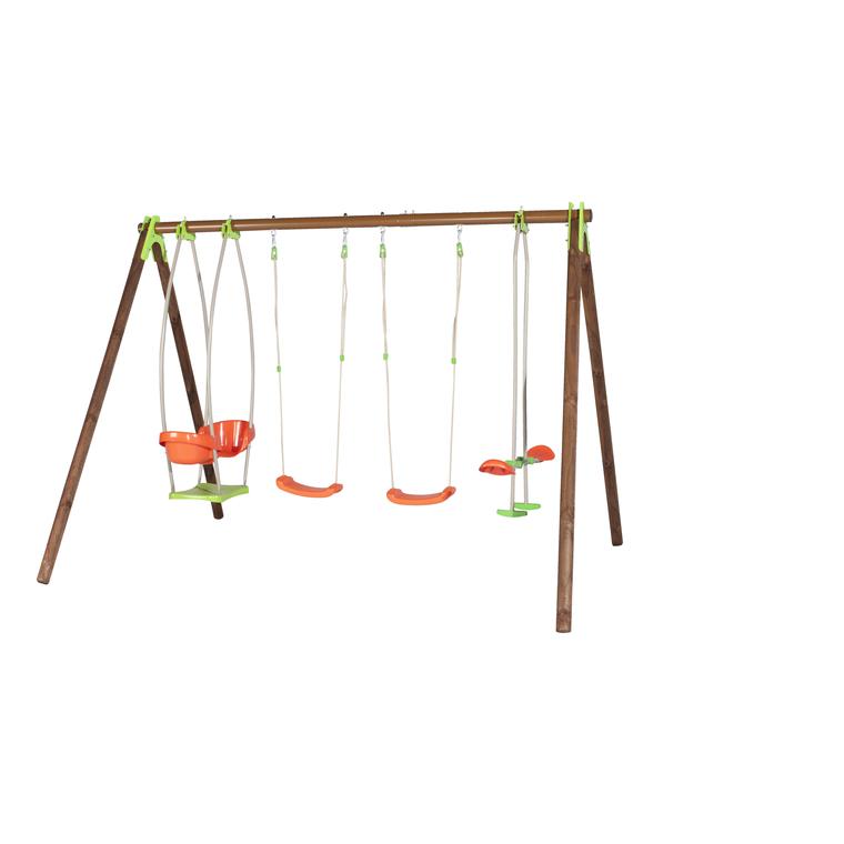 Portique 2 balançoires, nacelle cocon et echelle de corde TECHWOOD PREMIUM