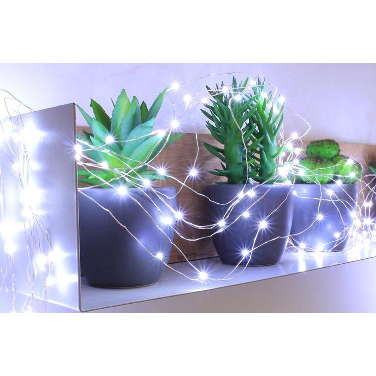 Konstsmide 3631-440 Guirlande 120 Micro LED Bleu Claires Clignotante C/âble Noir 24 V