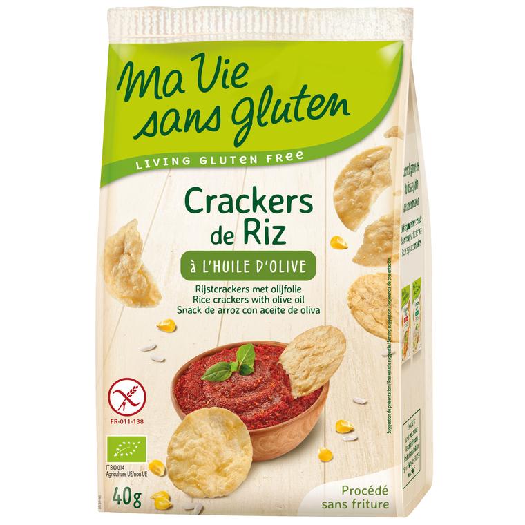 Crackers de riz à l'huile olive bio en sachet de 40 g