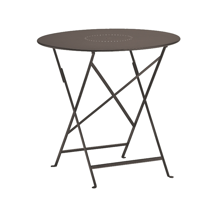 Table de jardin ronde pliante bistro fermob rouille 77 x h for Table de jardin prix