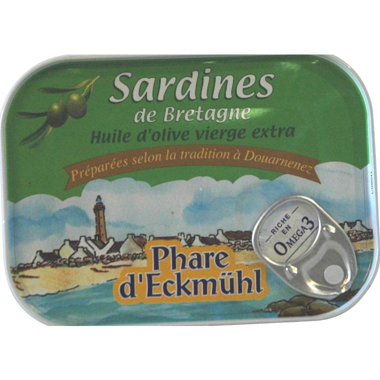Sardines eckmuhl à l'huile d'olive vierge extra en boite de 135 g