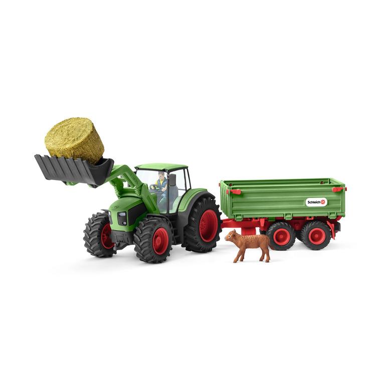Figurine Tracteur avec remorque Série Ferme 39x16,5x23 cm