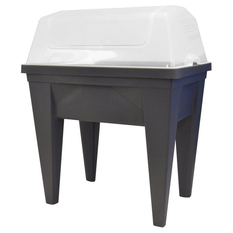 Espace potager Veg&Table Max et serre de culture gris anthracite
