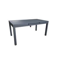 Table Carlina Noire aluminium et verre 157/210 x 90 x 76 cm