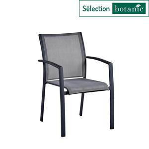 Fauteuil Carlina gris en aluminium et textilène 63 x 56 x 86,5 cm 302730