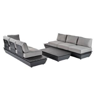 Salon bas Carlina gris en aluminium et oléfine 302732