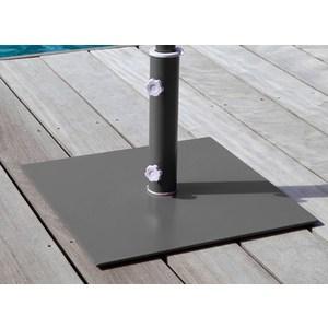 Pied carré en acier pour parasol couleur Cassis