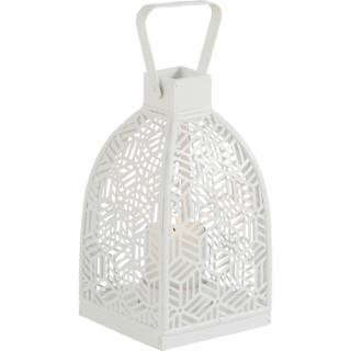 Lanterne cube blanche 17,5x17,5x32 cm