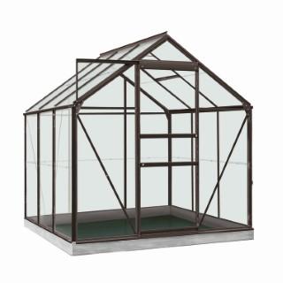 Serre verre 3,8 m² en aluminium gris