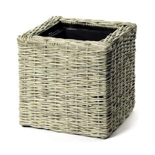Petit Pot carré Rio grisé de 30 cm de haut