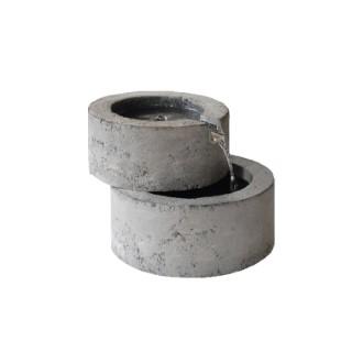 Fontaine de deux ronds style pierre - en polyrésine