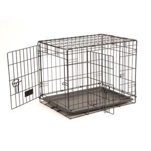 Cage de transport noire pour chien avec 2 portes 61 x 45 x 48 cm