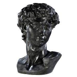 Buste de David en béton ciré couleur ardoise 58,5 cm