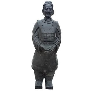 Guerrier chinois Xian en béton ciré noir 102 cm