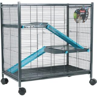 Cage pour rongeurs mini loft indoor bleu L. 72 x l. 43 x H. 73 cm 334557