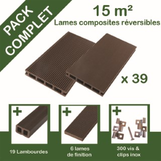 Pack complet terrasse composite chocolat 15 m2