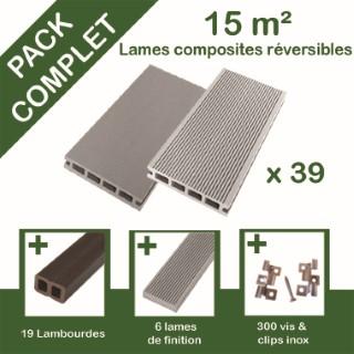 Pack complet terrasse composite gris 15 m2