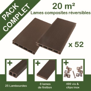 Pack complet terrasse composite chocolat 20 m2
