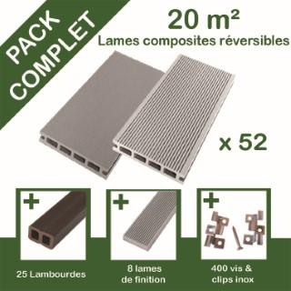 Pack complet terrasse composite gris 20 m2