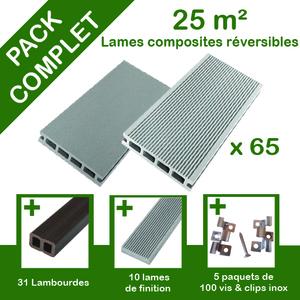 Pack complet terrasse composite gris 25 m2