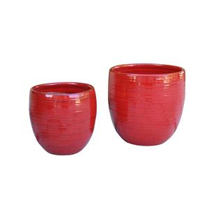 Pot Volupté coquelicot en terre cuite émaillée H 15 x Ø 15 cm