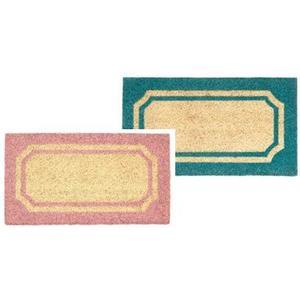 Paillasson encadré marron ose ou marron/bleu - 60 x 33 cm