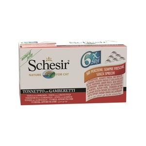 Pâtée pour chat Schesir au Thon et Crevettes Pack de 6 boites de 50 g 336165