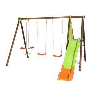 Portique en bois multi-activités avec 2 balançoires, un face à face et un toboggan 2,30 m 342253