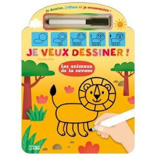 Je Veux Dessiner Les Animaux De la Savane Je Dessine J'efface et Je Recommence 4 ans Éditions Lito 343571