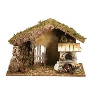 Crèche vide en bois et liège avec feu 42 x 18 x 28 cm 348834