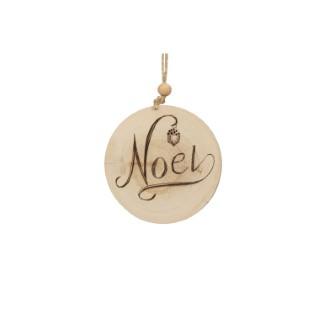 Disque en Bois écriture Noël - 10.16x1.27x11.4 cm